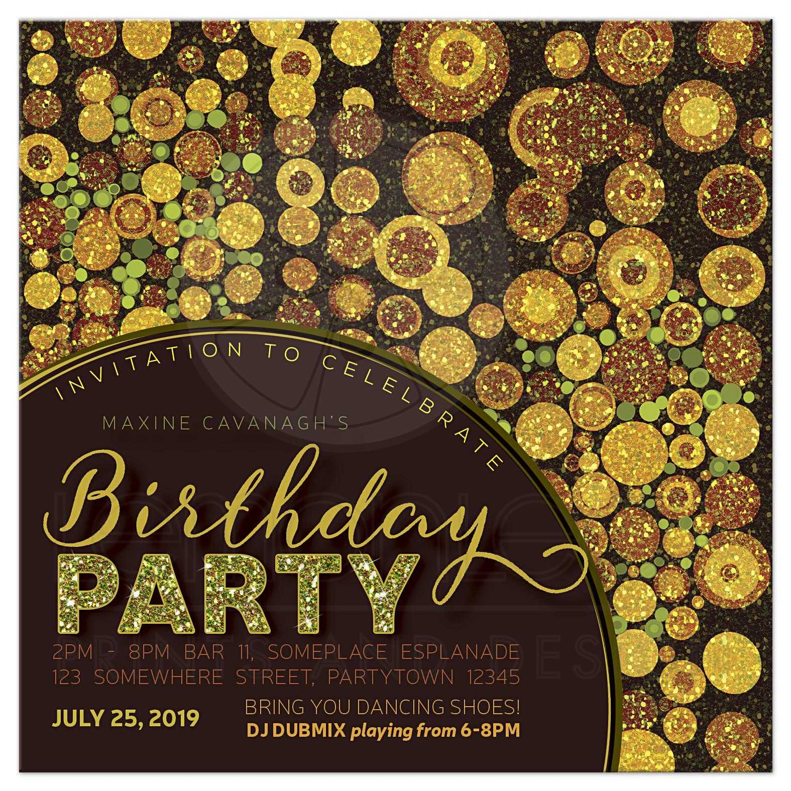 Sparkle Grunge Adult Birthday Party Invitation Rh Lemonleafprints Com Wording From Me 35th I
